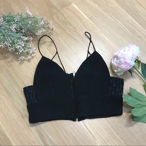 Storee | Ribbed Bra Crop Top with Lace Detail SZ M